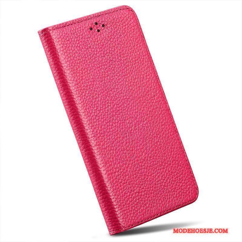 Hoesje Moto X Leer Telefoon Roze, Hoes Moto X Bescherming Eenvoudige Anti-fall