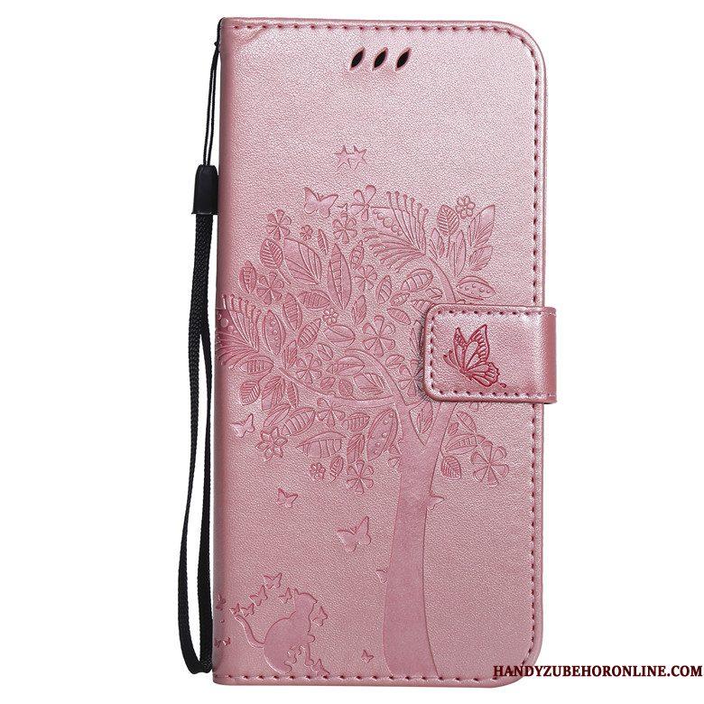 Hoesje Samsung Galaxy A10 Siliconen Anti-falltelefoon, Hoes Samsung Galaxy A10 Leer Roze Boom