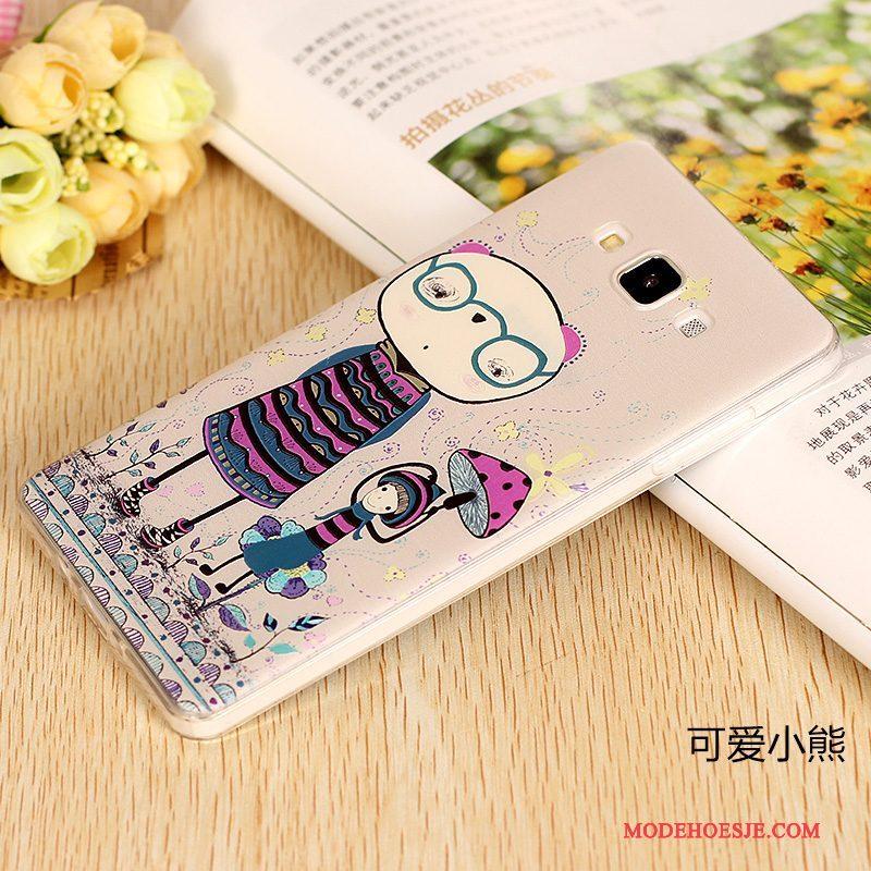 Hoesje Samsung Galaxy A7 2015 Zacht Telefoon Omlijsting, Hoes Samsung Galaxy A7 2015 Siliconen Purper Dun