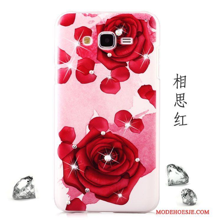 Hoesje Samsung Galaxy J5 2015 Bescherming Rood Schrobben, Hoes Samsung Galaxy J5 2015 Geschilderd Trend Anti-fall
