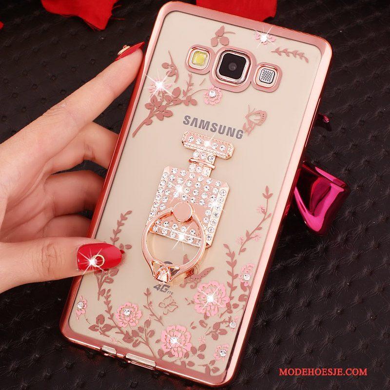 Hoesje Samsung Galaxy J5 2015 Spotprent Rozetelefoon, Hoes Samsung Galaxy J5 2015 Bescherming