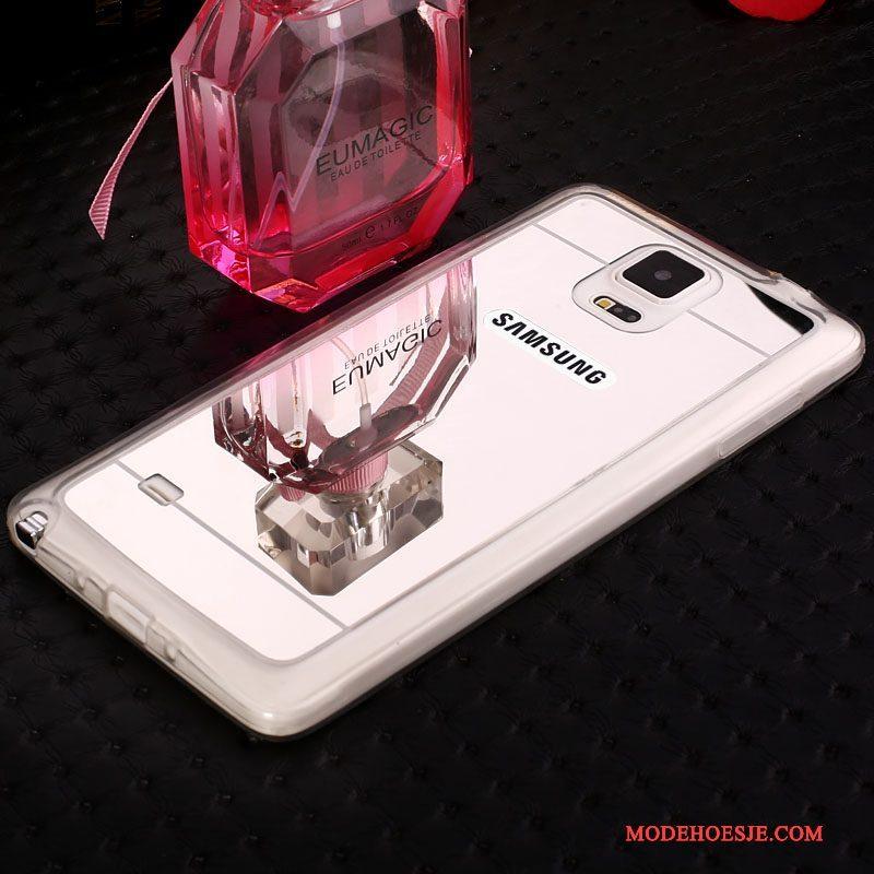 Hoesje Samsung Galaxy Note 4 Strass Telefoon Zilver, Hoes Samsung Galaxy Note 4 Zacht Spiegel Nieuw