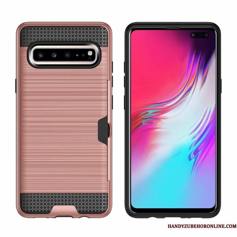 Hoesje Samsung Galaxy S10 5g Bescherming Zijde Kaart, Hoes Samsung Galaxy S10 5g Telefoon Groen