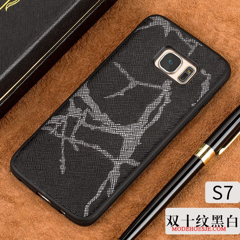 Hoesje Samsung Galaxy S7 Leer Hardtelefoon, Hoes Samsung Galaxy S7 Voelen Dun