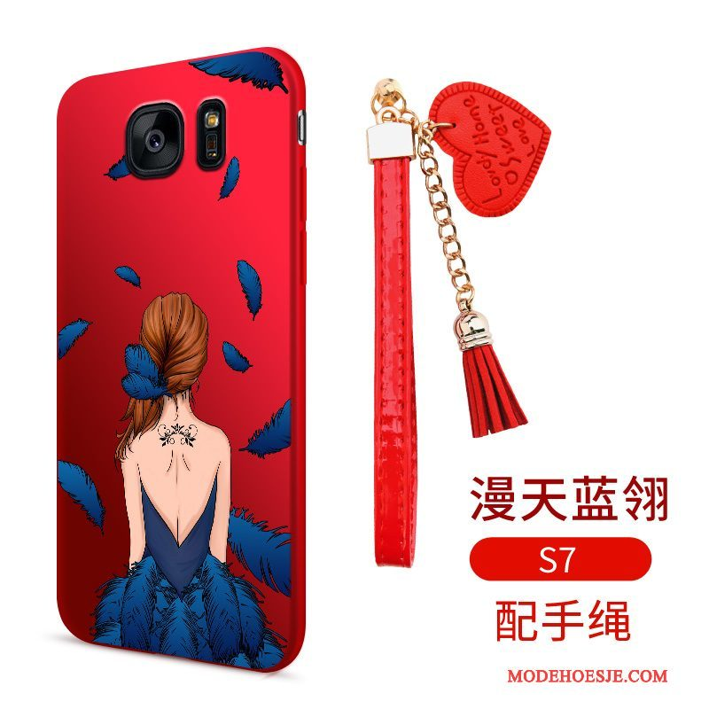 Hoesje Samsung Galaxy S7 Spotprent Dun Anti-fall, Hoes Samsung Galaxy S7 Siliconen Telefoon Rood