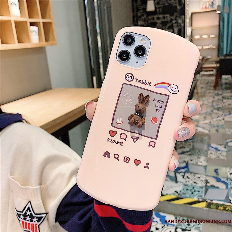 Hoesje iPhone 11 Pro Zacht Driedimensionaal Roze, Hoes iPhone 11 Pro Konijntelefoon