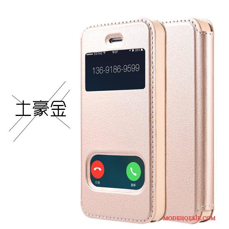 Hoesje iPhone 4/4s Leer Anti-falltelefoon, Hoes iPhone 4/4s Folio Roze