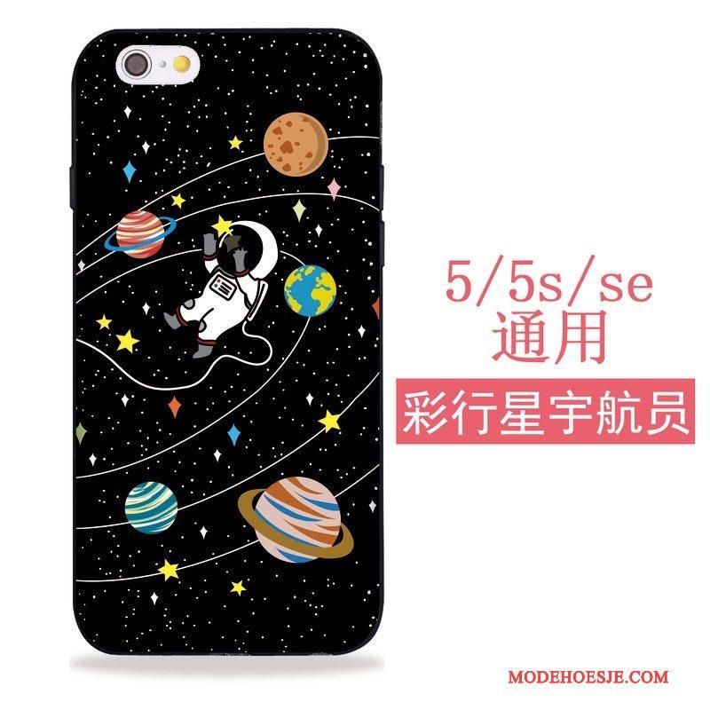 Hoesje iPhone 5/5s Zacht Zwarttelefoon, Hoes iPhone 5/5s Siliconen