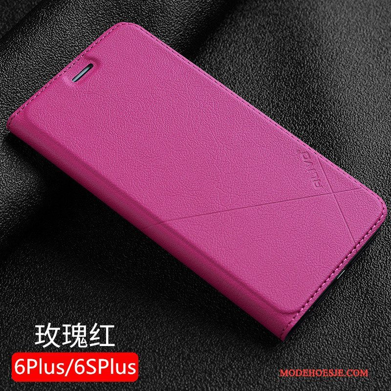 Hoesje iPhone 6/6s Plus Bescherming Anti-falltelefoon, Hoes iPhone 6/6s Plus Leer Rood Edelsteen