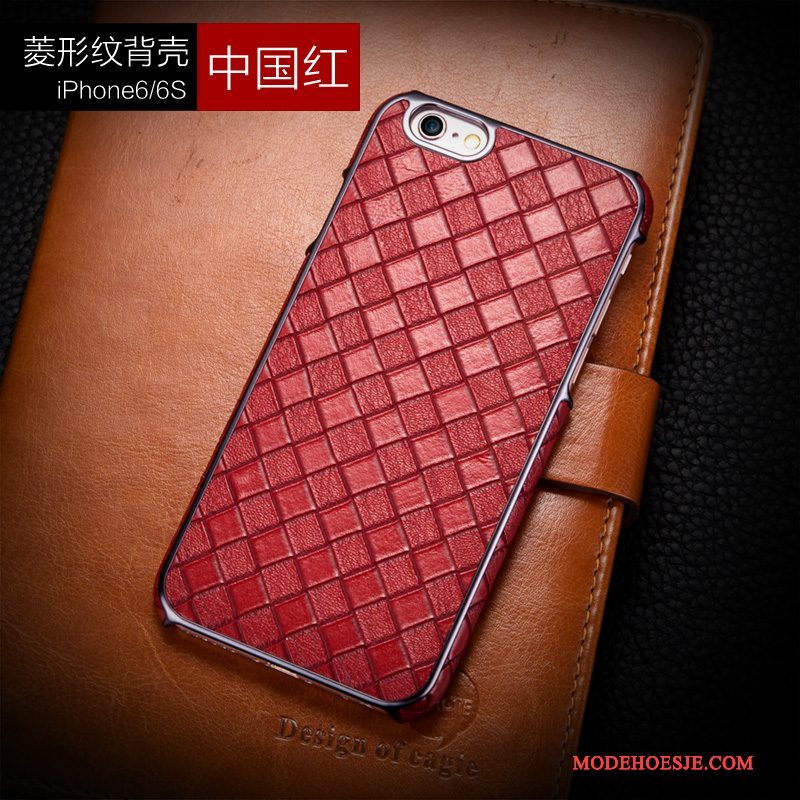 Hoesje iPhone 6/6s Plus Leer Rood Ruit, Hoes iPhone 6/6s Plus Luxe Telefoon Anti-fall