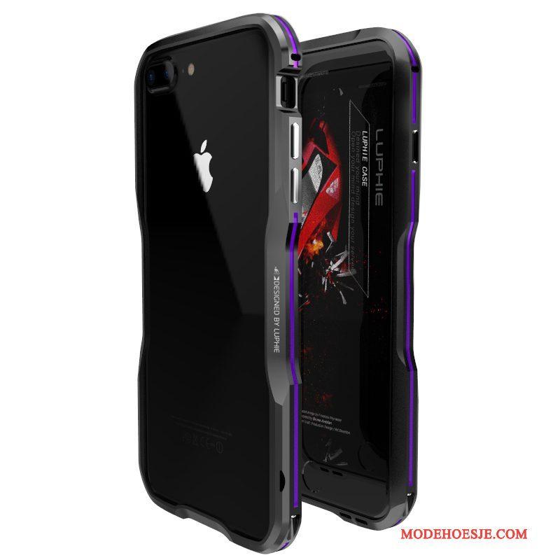 Hoesje iPhone 7 Plus Metaal Omlijsting Nieuw, Hoes iPhone 7 Plus Bescherming Goudtelefoon