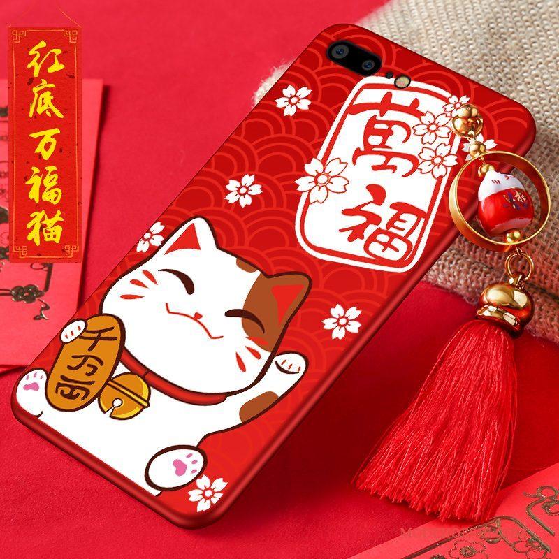 Hoesje iPhone 7 Plus Siliconen Nieuwtelefoon, Hoes iPhone 7 Plus Rood Kat