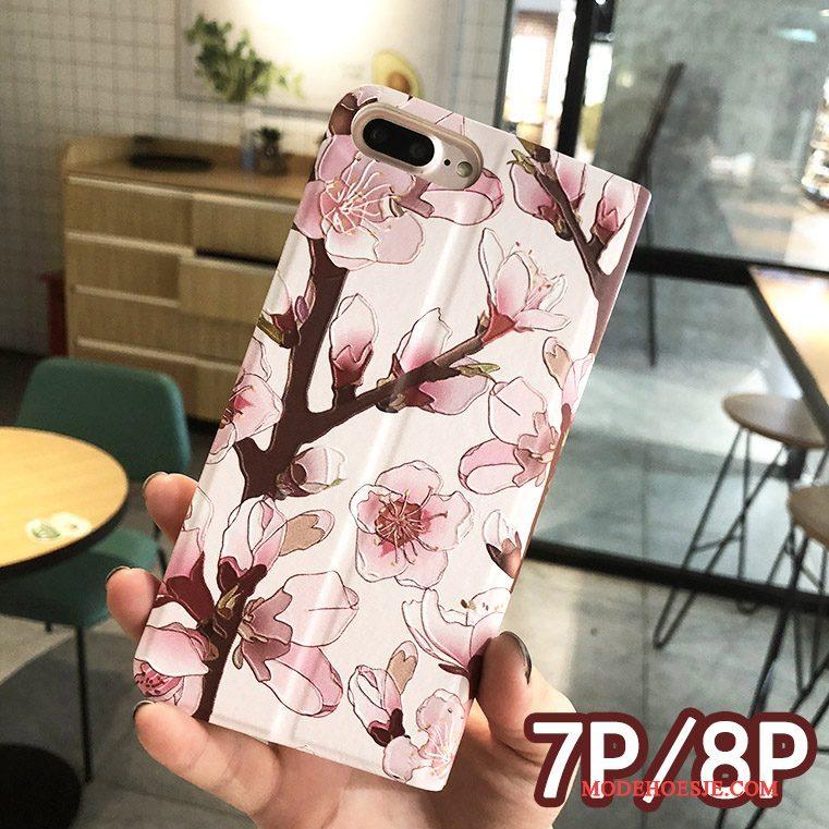 Hoesje iPhone 8 Plus Bloemen Rozetelefoon, Hoes iPhone 8 Plus Leer