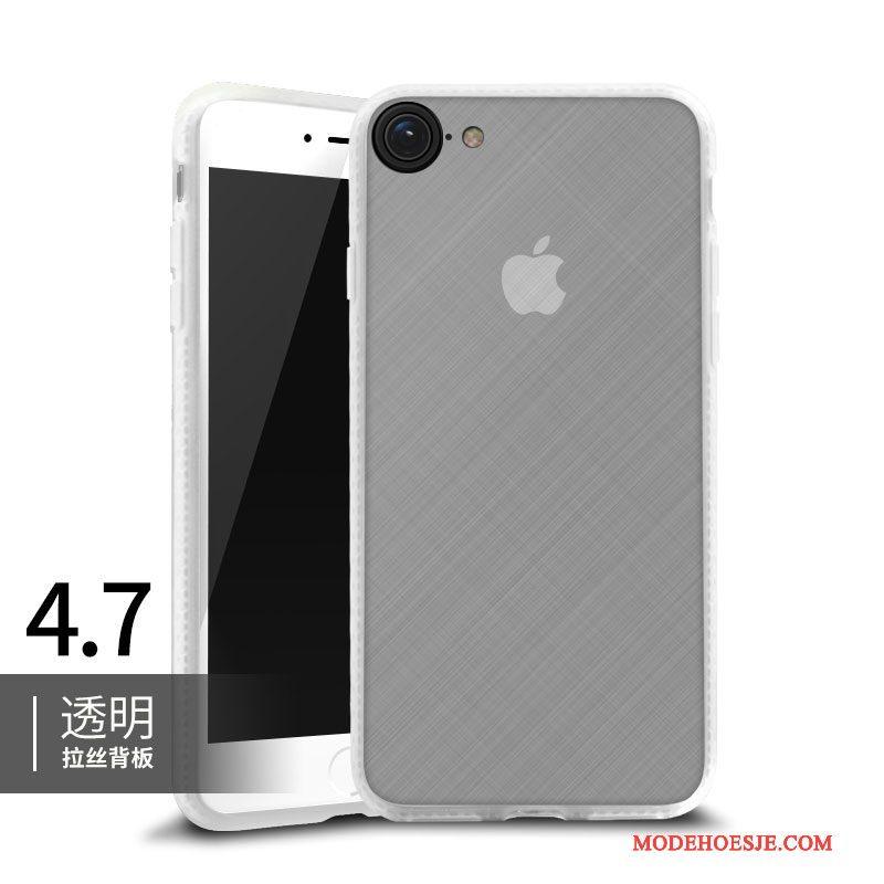 Hoesje iPhone 8 Zacht Doorzichtig Rood, Hoes iPhone 8 Siliconen Omlijstingtelefoon