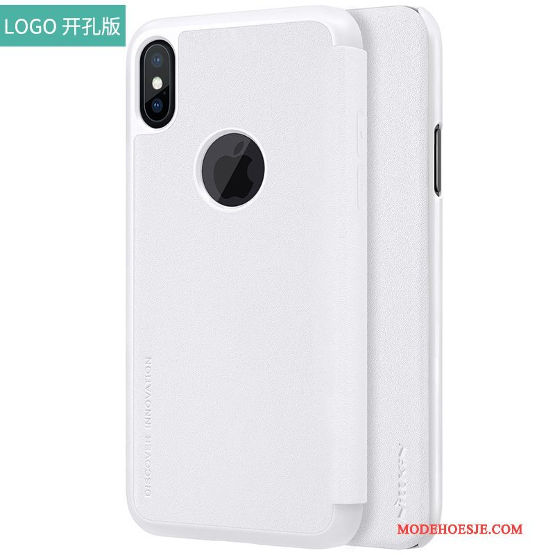 Hoesje iPhone X Bescherming Goud Rood, Hoes iPhone X Leer Anti-falltelefoon
