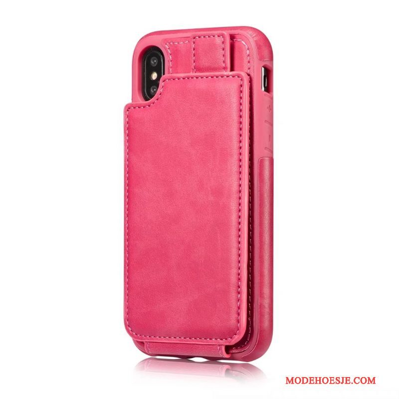 Hoesje iPhone X Leer Anti-fall Kaart, Hoes iPhone X Bescherming Originaltelefoon