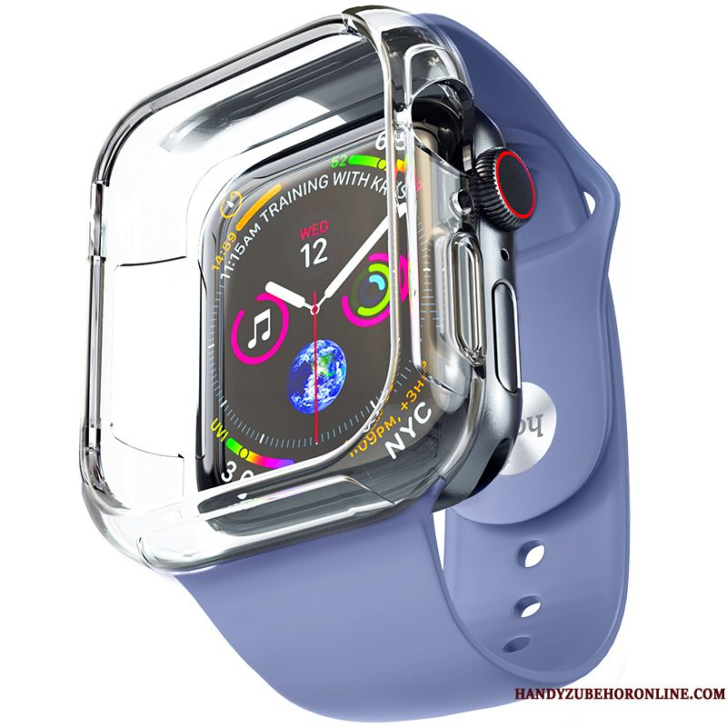 Hoesje Apple Watch Series 4 Siliconen Accessoires Trend, Hoes Apple Watch Series 4 Zacht Plating Blauw