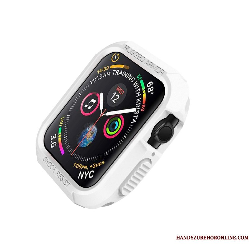 Hoesje Apple Watch Series 4 Siliconen Anti-fall Wit, Hoes Apple Watch Series 4 Bescherming