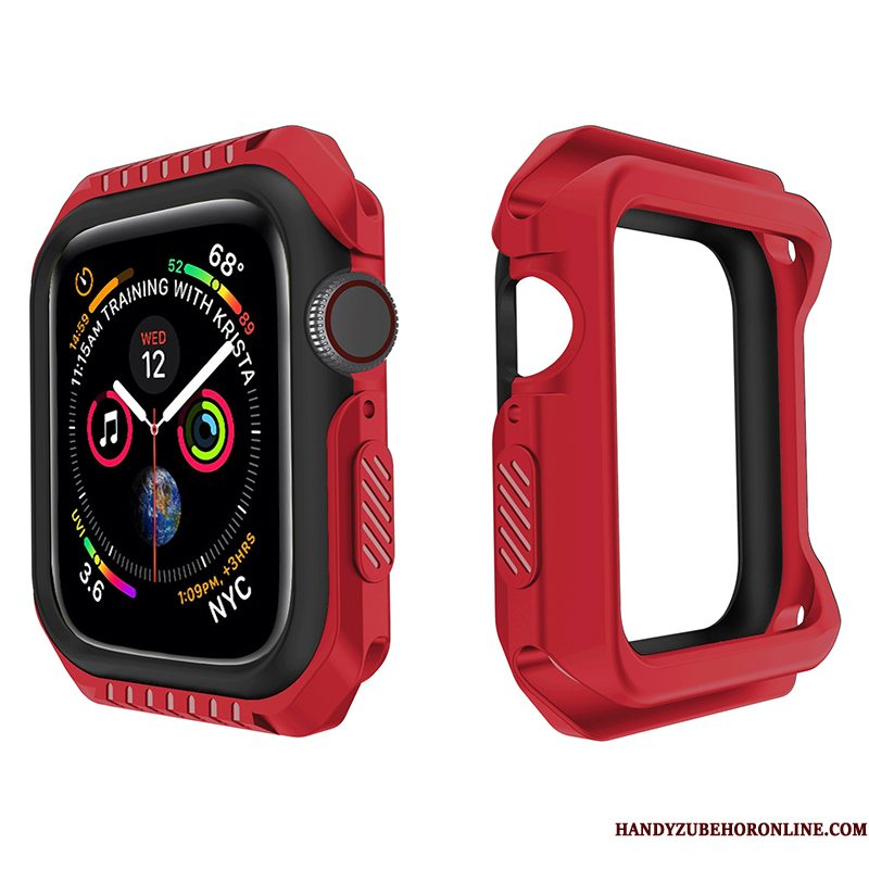 Hoesje Apple Watch Series 4 Siliconen Sport Omlijsting, Hoes Apple Watch Series 4 Bescherming Accessoires Rood
