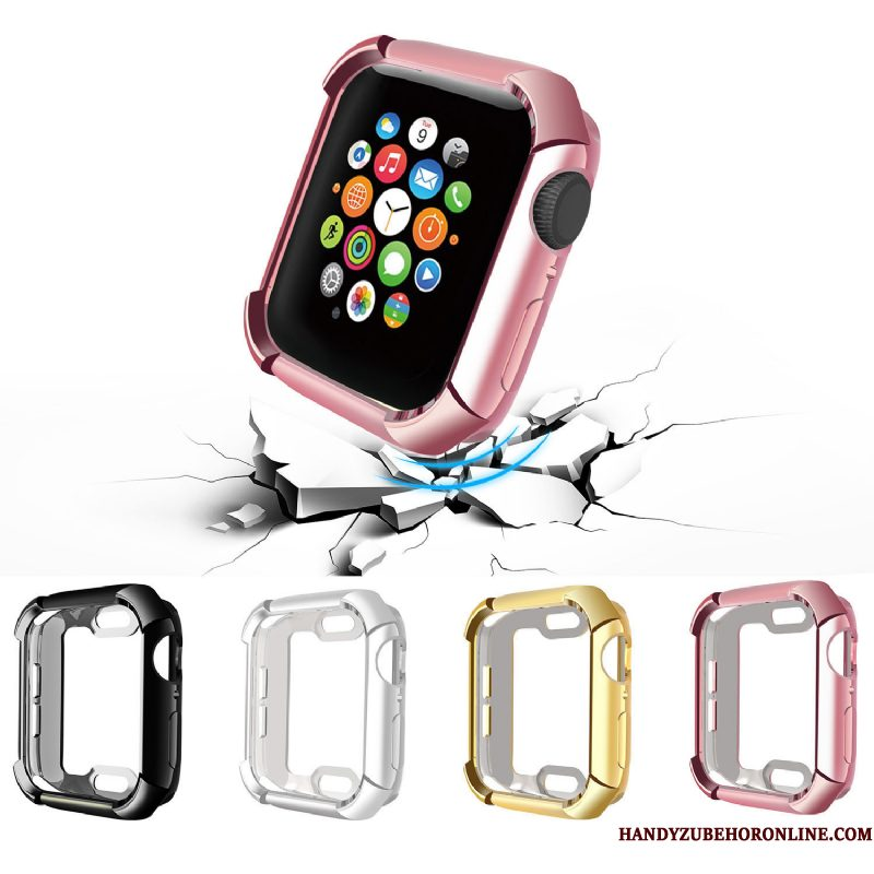 Hoesje Apple Watch Series 4 Siliconen Trend Anti-fall, Hoes Apple Watch Series 4 Zakken Plating Accessoires