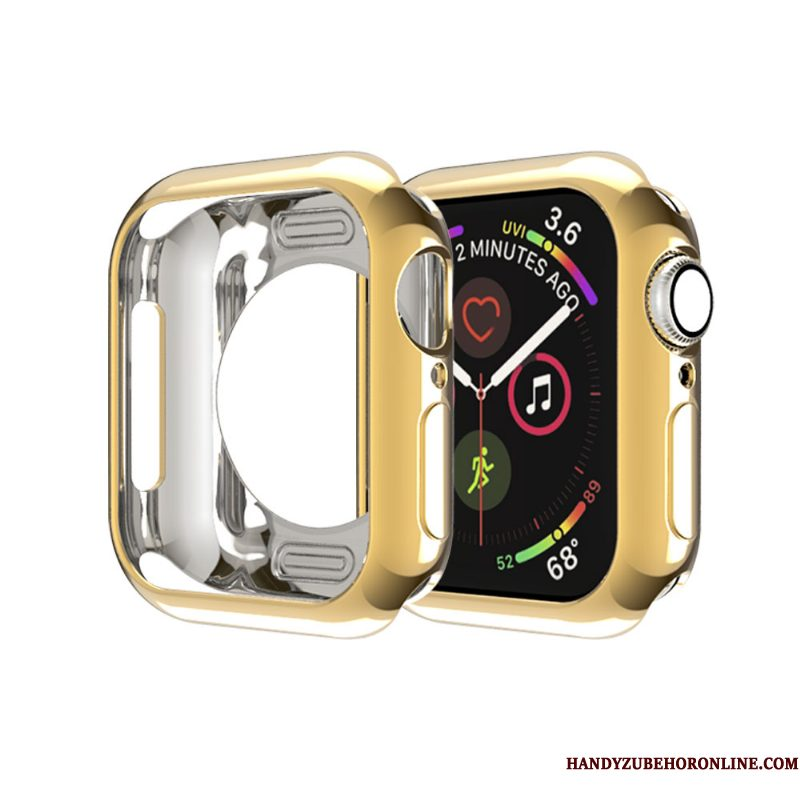 Hoesje Apple Watch Series 4 Zacht Skärmskydd Goud, Hoes Apple Watch Series 4 Zakken Omlijsting Dun