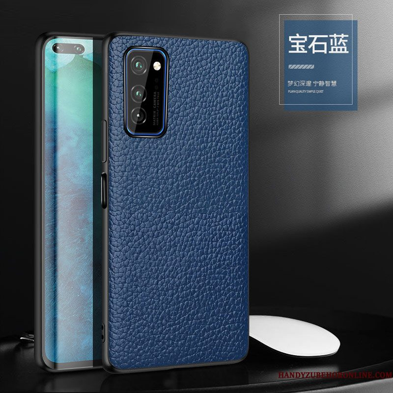 Hoesje Honor 30 Pro Siliconen Blauw Anti-fall, Hoes Honor 30 Pro Leer Trendy Merk High End