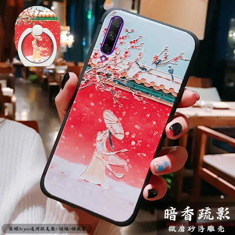 Hoesje Honor 9x Pro Siliconen Chinese Stijltelefoon, Hoes Honor 9x Pro Reliëf Dun Rood