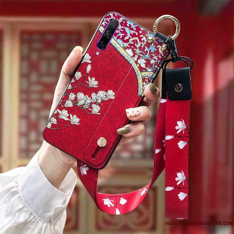 Hoesje Honor 9x Pro Siliconen Roodtelefoon, Hoes Honor 9x Pro Zacht Hanger Chinese Stijl