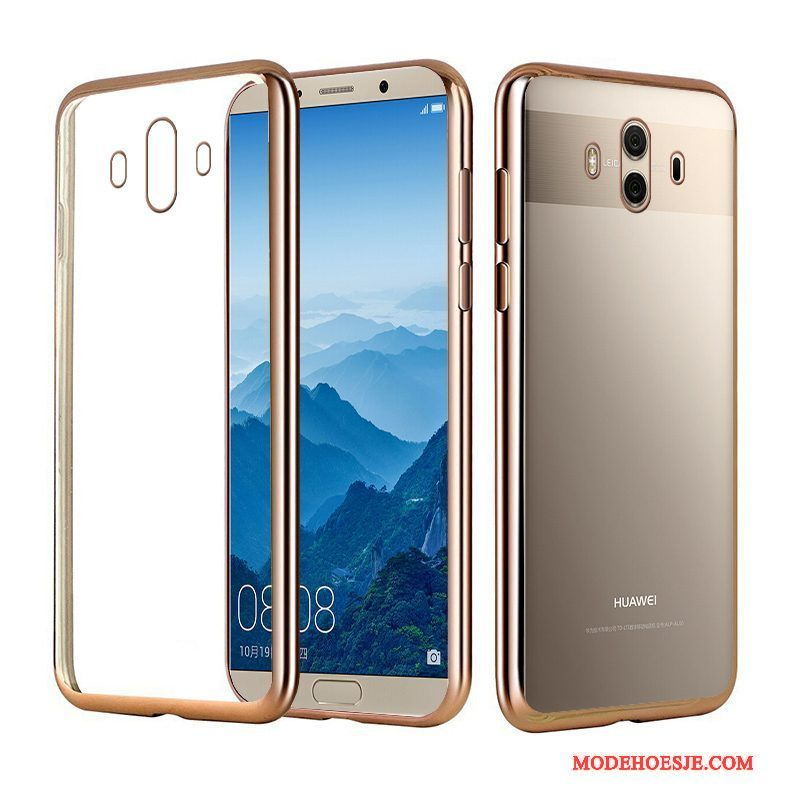 Hoesje Huawei Mate 10 Pro Luxe Telefoon Elegante, Hoes Huawei Mate 10 Pro Siliconen Goud Plating