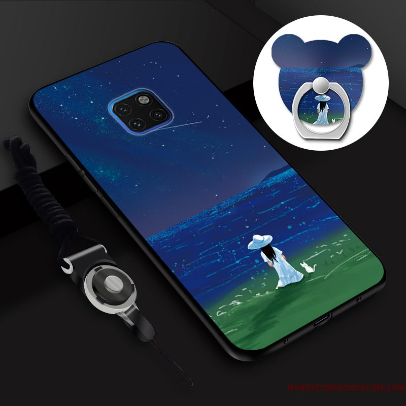 Hoesje Huawei Mate 20 Rs Siliconen Hanger Tempereren, Hoes Huawei Mate 20 Rs Zacht Skärmskydd Blauw