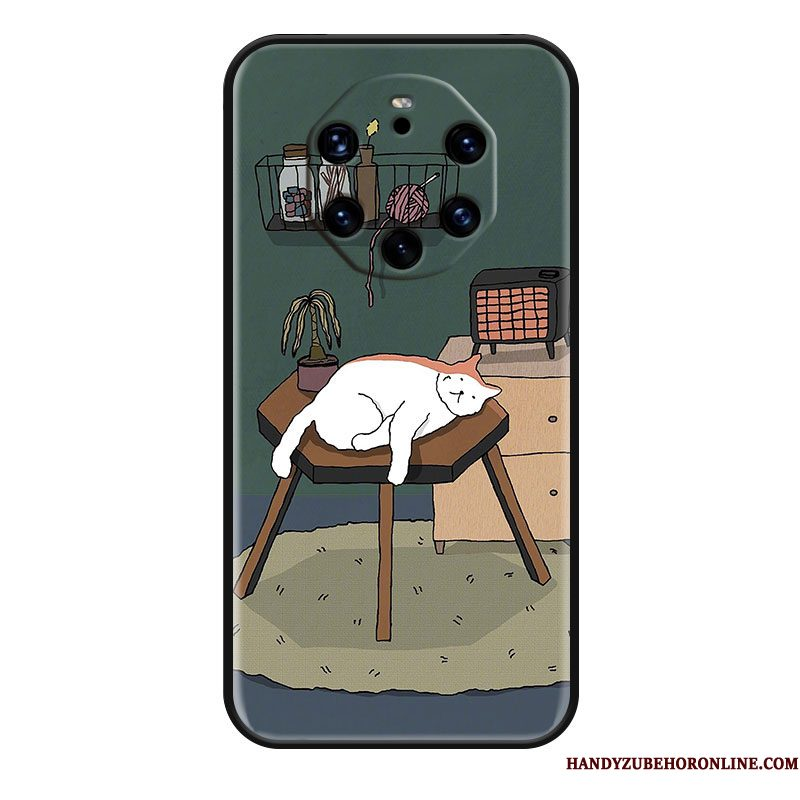 Hoesje Huawei Mate 40 Rs Siliconen Kat Hanger, Hoes Huawei Mate 40 Rs Reliëf Groentelefoon