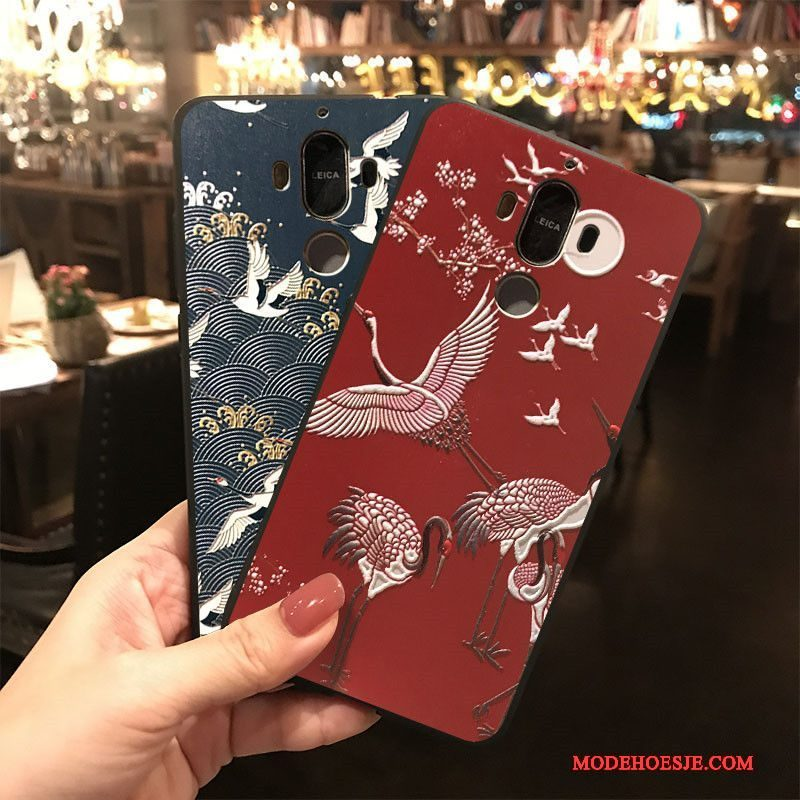 Hoesje Huawei Mate 9 Spotprent Donkerblauw Rood, Hoes Huawei Mate 9 Siliconen Telefoon Hanger