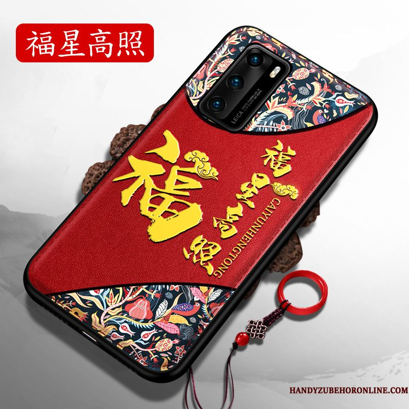 Hoesje Huawei P40 Siliconen Rood Hard, Hoes Huawei P40 Zacht Chinese Stijltelefoon