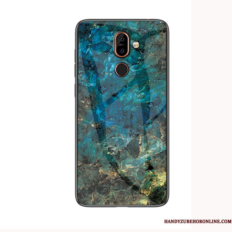 Hoesje Nokia 7 Plus Glas Groen, Hoes Nokia 7 Plus Anti-fall Grote