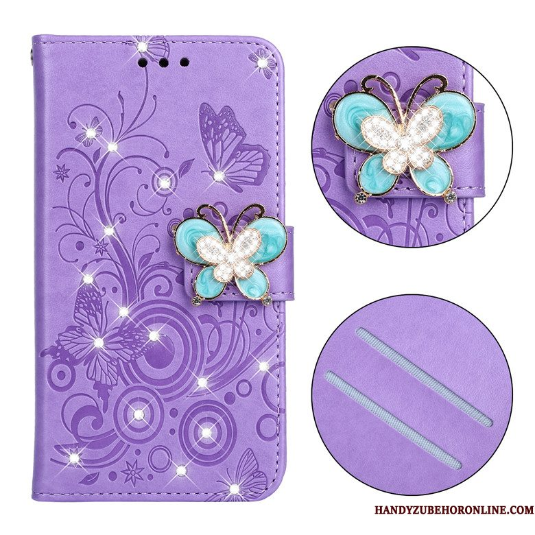 Hoesje Redmi 7 Zacht Vlinder Purper, Hoes Redmi 7 Folio Anti-fall Mini
