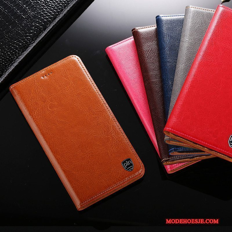 Hoesje Redmi Note 5 Folio Bruin Rood, Hoes Redmi Note 5 Leer
