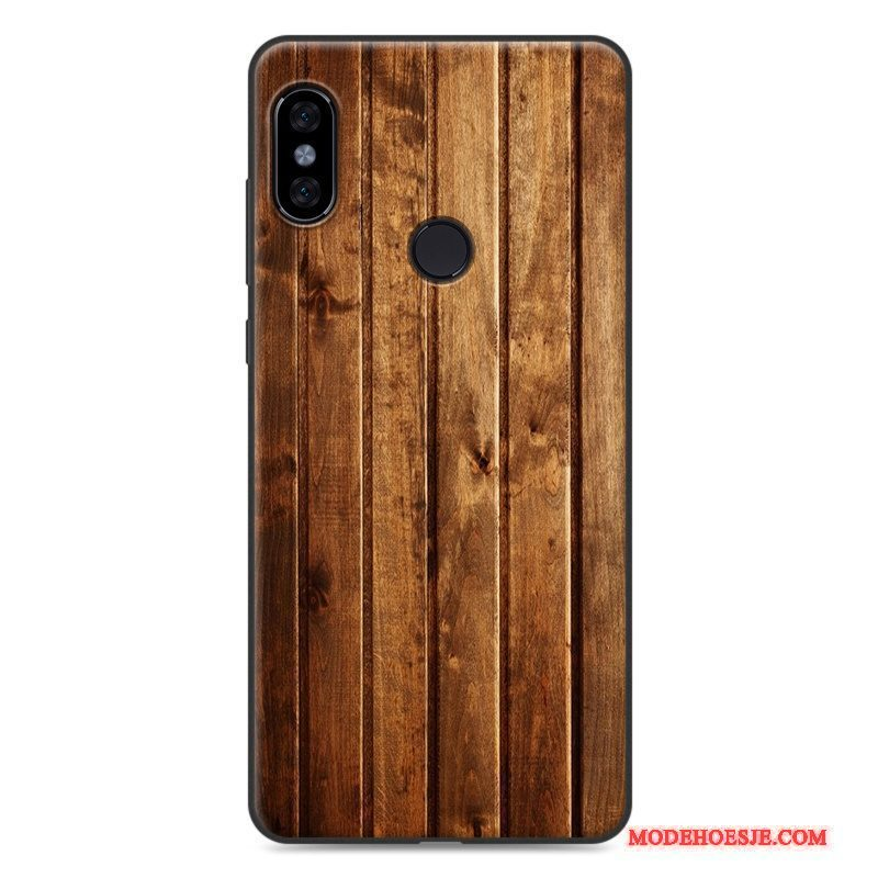 Hoesje Redmi Note 5 Zacht Anti-fall Mini, Hoes Redmi Note 5 Vintage Rood Hout