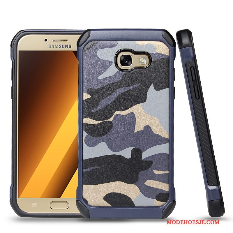Hoesje Samsung Galaxy A3 2017 Siliconen Camouflage Blauw, Hoes Samsung Galaxy A3 2017 Bescherming Anti-falltelefoon