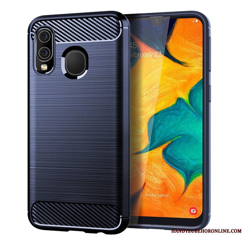 Hoesje Samsung Galaxy A40 Siliconen Blauw Anti-fall, Hoes Samsung Galaxy A40 Zacht Telefoon Patroon