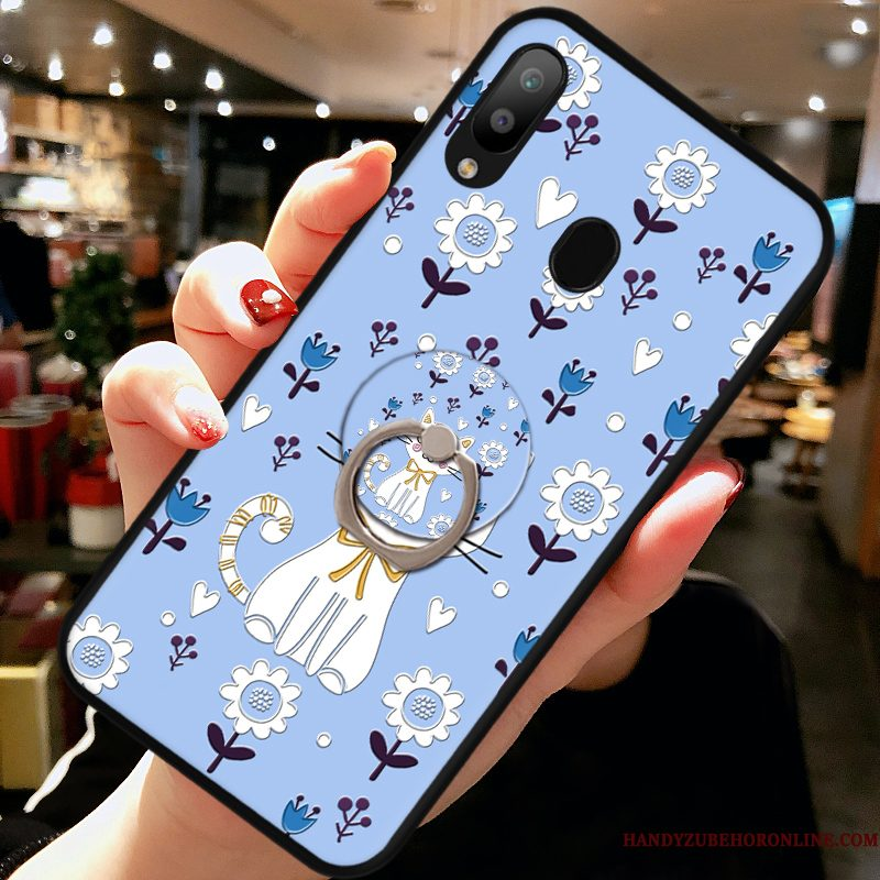 Hoesje Samsung Galaxy A40 Zacht Blauwtelefoon, Hoes Samsung Galaxy A40 Siliconen Kat Anti-fall