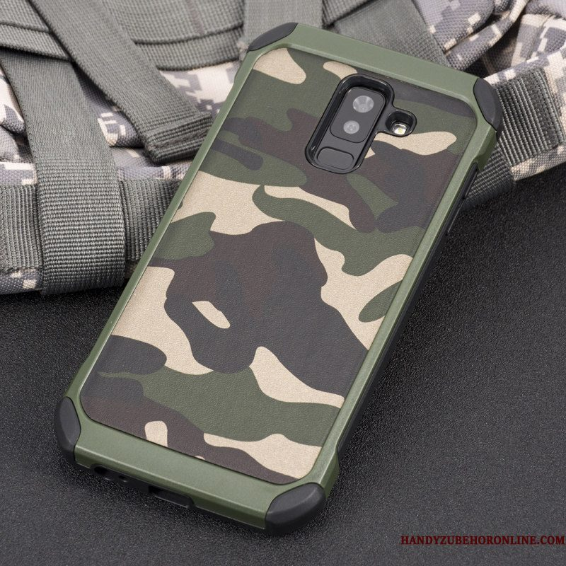 Hoesje Samsung Galaxy A6+ Siliconen Trend Anti-fall, Hoes Samsung Galaxy A6+ Scheppend Dikke Camouflage