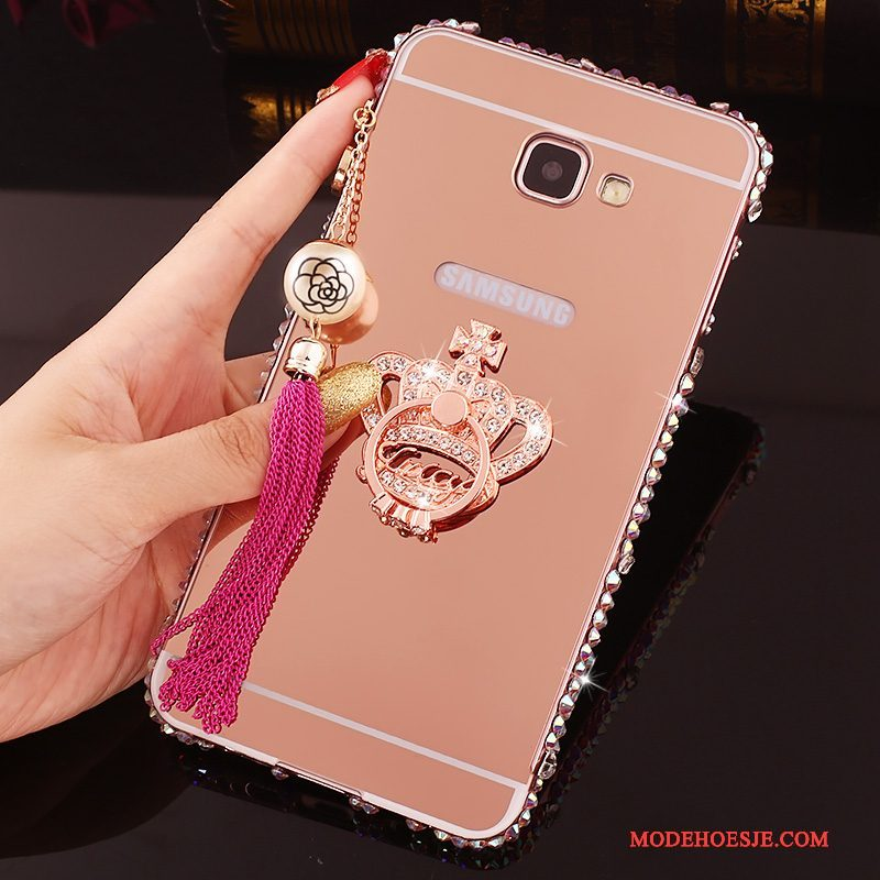 Hoesje Samsung Galaxy A7 2016 Strass Omlijsting Achterklep, Hoes Samsung Galaxy A7 2016 Metaal Telefoon Roze