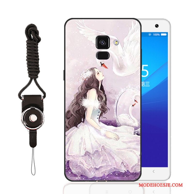 Hoesje Samsung Galaxy A8 Bescherming Anti-fall Purper, Hoes Samsung Galaxy A8 Siliconen
