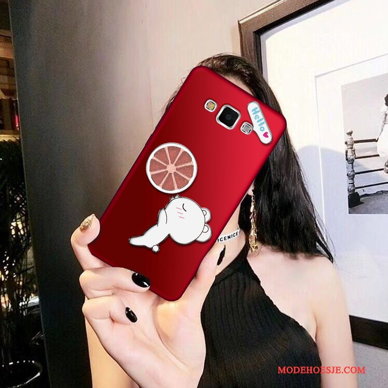 Hoesje Samsung Galaxy A8 Siliconen Trend Rood, Hoes Samsung Galaxy A8 Bescherming Dun Anti-fall