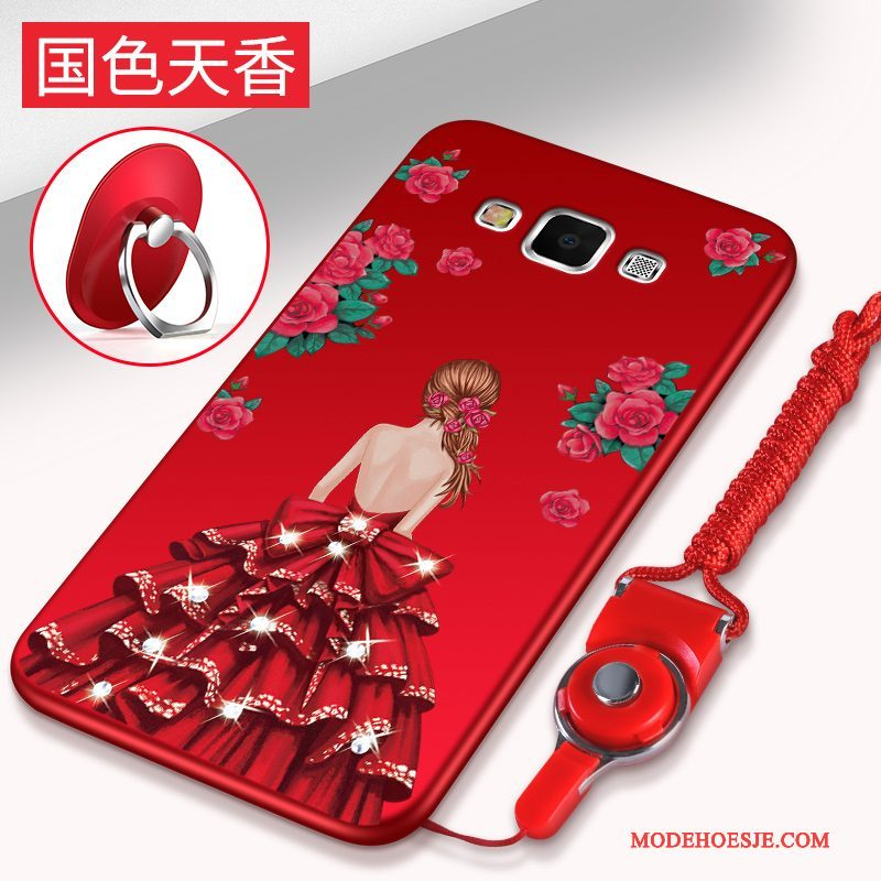 Hoesje Samsung Galaxy A8 Zacht Anti-fall Trend, Hoes Samsung Galaxy A8 Ondersteuning Rood Hanger