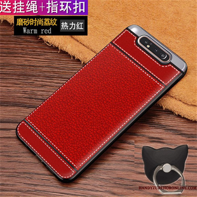 Hoesje Samsung Galaxy A80 Siliconen Patroontelefoon, Hoes Samsung Galaxy A80 Leer Anti-fall Rood