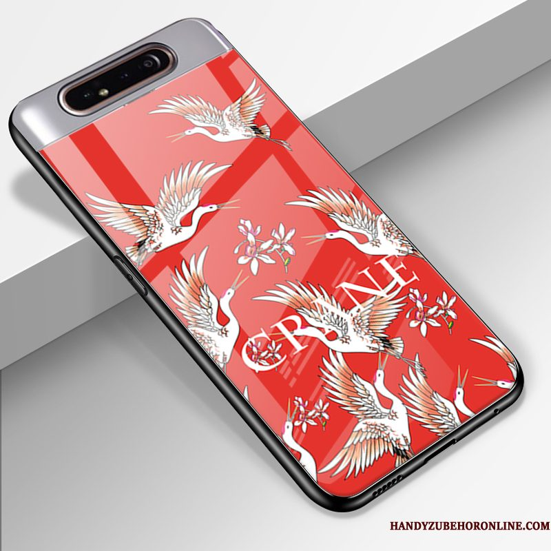 Hoesje Samsung Galaxy A80 Spotprent Trend Glas, Hoes Samsung Galaxy A80 Siliconen Anti-fall Rood