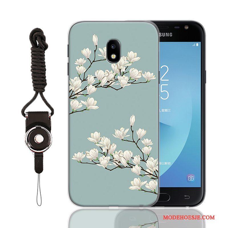 Hoesje Samsung Galaxy J3 2017 Spotprent Eenvoudige Lichtblauw, Hoes Samsung Galaxy J3 2017 Zakken Telefoon Anti-fall