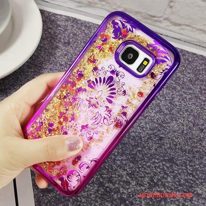 Hoesje Samsung Galaxy J5 2017 Zacht Purper Verloop, Hoes Samsung Galaxy J5 2017 Mode Telefoon Plating