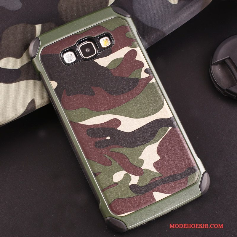 Hoesje Samsung Galaxy J7 2016 Siliconen Anti-fall Groen, Hoes Samsung Galaxy J7 2016 Zacht Camouflage Ring